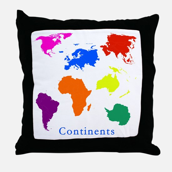 Continents-10x10_apparel Throw Pillow