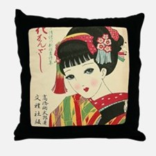 Okura-Anime-Japanese-Beauty-Woodblock Throw Pillow