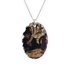 degas at the cafe Necklace Oval Charm