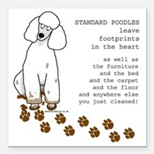 "footprints-poodle standa Square Car Magnet 3"" x 3"""