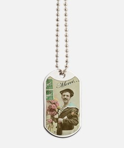 Merci - French Man with wine Dog Tags