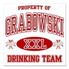 "Grabowski Polish Drinkin Square Car Magnet 3"" x 3"""
