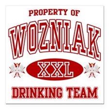 "Wozniak Polish Drinking  Square Car Magnet 3"" x 3"""