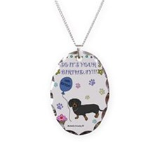 DachshundBlackBrown Necklace Oval Charm