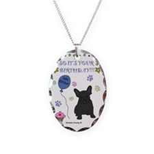 FrenchBulldogBlack Necklace Oval Charm