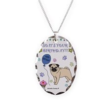 Pug Necklace Oval Charm