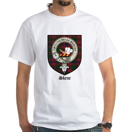 Skene Clan Crest Tartan White T-Shirt
