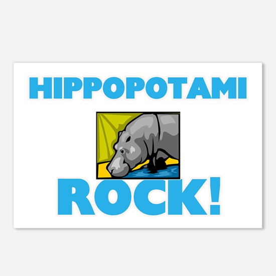 Hippopotami rock! Postcards (Package of 8)