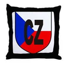 Czech Flag Shield Throw Pillow
