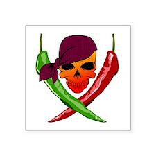 """Chili Pirate-blk Square Sticker 3"""" x 3"""""""
