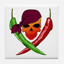Chili Pirate-blk Tile Coaster
