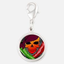 Chili Pirate-poster Silver Round Charm