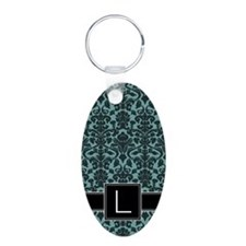 l_monogram_iphone_damask_te Keychains