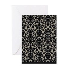 Damask Pattern Taupe Greeting Card