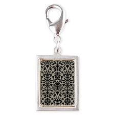 Damask Pattern Taupe Silver Portrait Charm