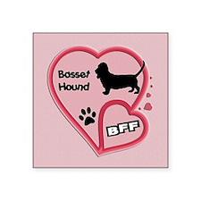 "FIN-bff-basset-hound-FILL Square Sticker 3"" x 3"""