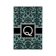 q_monogram_iphone_damask_teal Rectangle Magnet