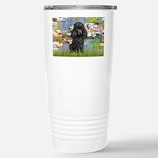 LIC-Lilies2-BlackToyPoodle Travel Mug