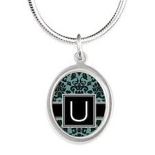 u_monogram_iphone_damask_teal Silver Oval Necklace
