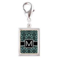 m_monogram_iphone_damask_tea Silver Portrait Charm