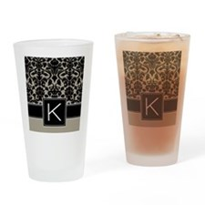 k_monogram_iphone_damask_taupe Drinking Glass