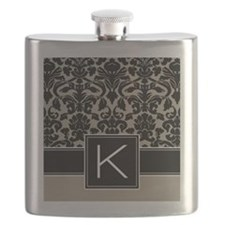 k_monogram_iphone_damask_taupe Flask