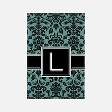 l_monogram_iphone_damask_teal Rectangle Magnet