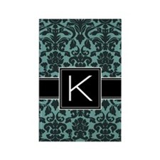 k_monogram_iphone_damask_teal Rectangle Magnet