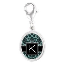 k_monogram_iphone_damask_teal Silver Oval Charm