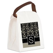 s_monogram_iphone_damask_taupe Canvas Lunch Bag