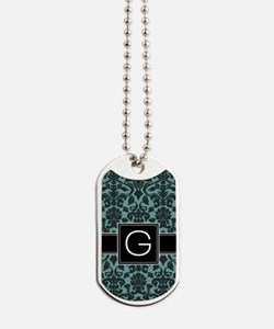 g_monogram_iphone_damask_teal Dog Tags