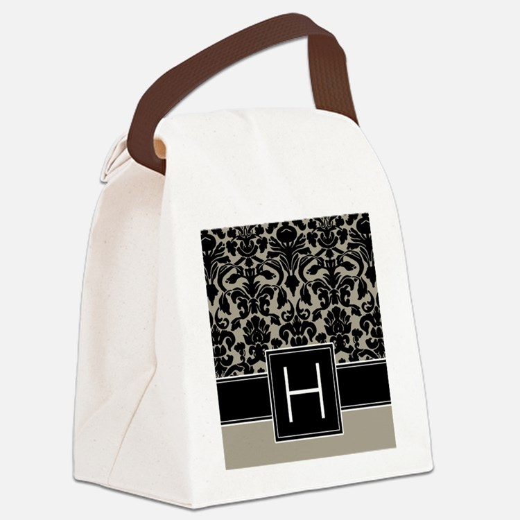 h_monogram_iphone_damask_taupe Canvas Lunch Bag