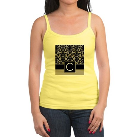 c_monogram_iphone_damask_taupe Jr. Spaghetti Tank
