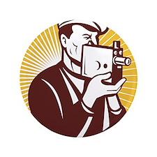 """Cameraman vintage video camera shootin 3.5"""" Button"""