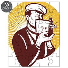 Cameraman vintage video camera shooting Puzzle