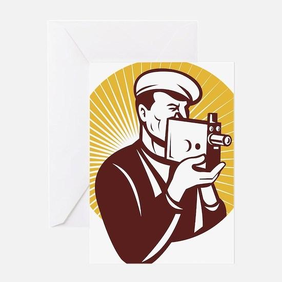 Cameraman vintage video camera shoot Greeting Card