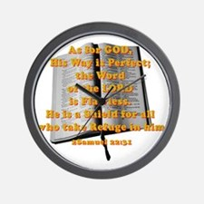 Gods word shield_G on red Wall Clock