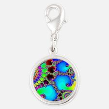 Colorful Coastline Silver Round Charm