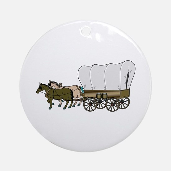 Covered Wagon Ornament (Round)