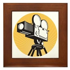 vintage movie film camera retro style Framed Tile