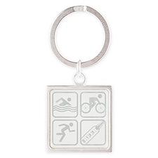 swimbikerunBeer-Grey Square Keychain