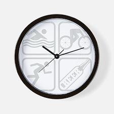 swimbikerunBeer-Grey Wall Clock