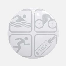 swimbikerunBeer-Grey Round Ornament
