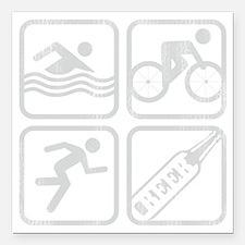 """swimbikerunBeer-Grey Square Car Magnet 3"""" x 3"""""""
