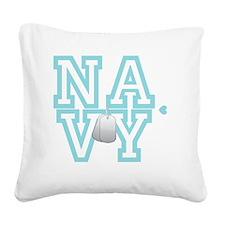 usnavywhite Square Canvas Pillow
