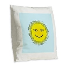 Smiling Sun Burlap Throw Pillow
