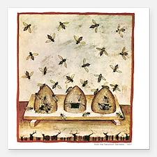 "Medieval Bees in Skeps Square Car Magnet 3"" x 3"""
