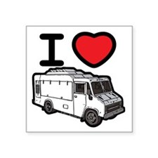 "16_FoodTruck_ILove Square Sticker 3"" x 3"""