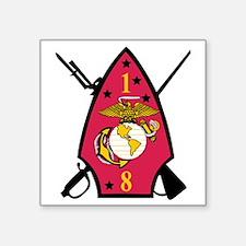 """SSI-1ST  BATTALION-8TH MARI Square Sticker 3"""" x 3"""""""