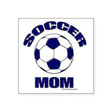 "Soccer Mom Blue Square Sticker 3"" x 3"""
